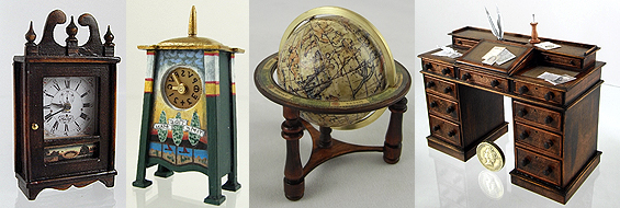 12th scale miniature clocks, globe, desk,
