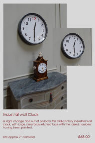industrial mid century wall clock