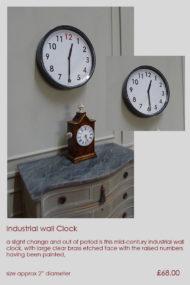 industrial mid century wall clock