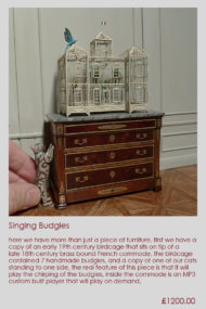 singing bodies on french 18thc commode with birdcage